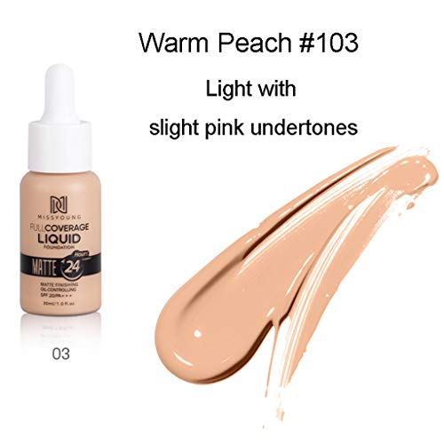 Liquid Foundation FlüSsigmatt Full Concealer Cover Shadows Skin Care Foundation Oil Control Erhellen Sie Langlebigen Shade Spf50 /Pa Medium Light (1 x30ml, Mehrfarbig 03#)
