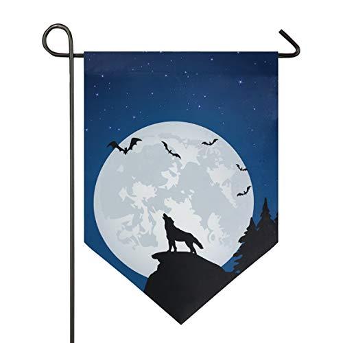 XiangHeFu Garten Flagge Vollmond Nacht Wolf Fledermaus 28 x 40 Zoll (28