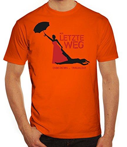 Junggesellenabschieds JGA Hochzeit Herren T-Shirt Endstation Traualtar Orange