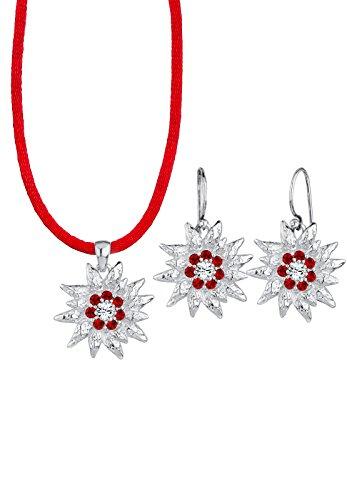 Elli Damen-Set: Halskette + Ohrringe Wiesnschmuck 925 Sterling Silber mit Swarovski Kristallen rot 0905771614_45