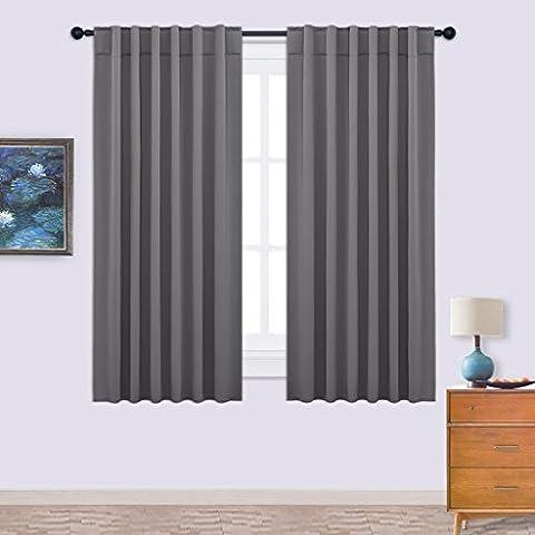 Blickdichte Vorhänge Isolierter Vorhang - PONY DANCE H 160 cm x B 132 cm, Grau, 2 Stücke Verdunkelungsgardine mit Stangendurchzug für Schlafzimmer, Energiespar & Wärmeisolierend