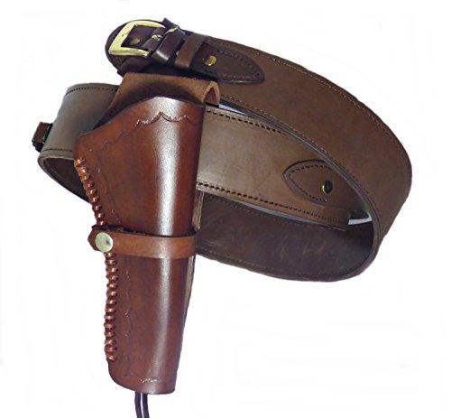 Ranch Western Shirt (Gürtel + Holster Westernholster mit Patronenschlaufen Rindsleder braun (50))