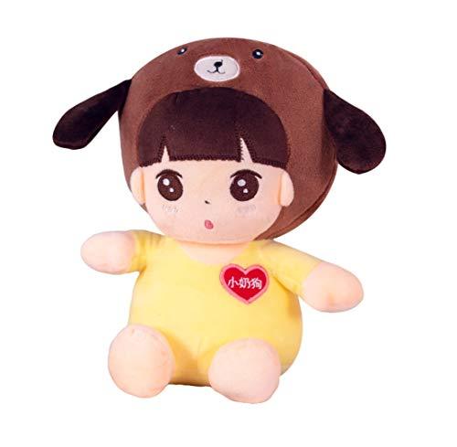 Hunde Panda Bär Kostüm - WYBL Süße kleine Mädchen Puppe trägt EIN Tier Hut Halloween Weihnachten Geburtstagsgeschenke für Jungen Mädchen Kinder 23cm gelb