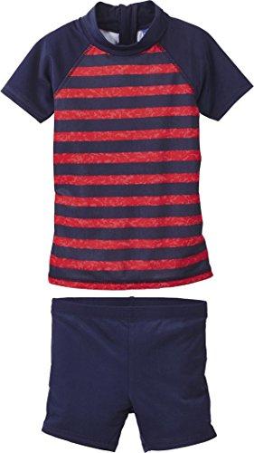 lupilu Kinder Jungen UV-Schutz-Anzug für Wasser und Strand (Zweiteilig - Navy/Rot gestreift, Gr. 110/116)