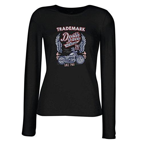 lepni.me Camisetas de Manga Larga para Mujer Carrera de la Muerte - Andar y Ganar, Motocicleta Retro, Moto Clásica de la Vendimia (XX-Large Negro Multicolor)