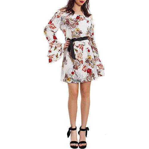 Toocool - Vestito donna fiori floreale miniabito elegante cintura gitana nuovo AS-1800 Bianco