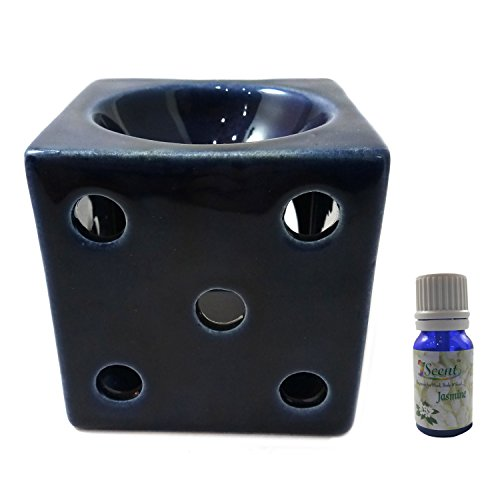India Meets India Thanksgiving Handicraft Ceramic Tea Light Holder And 10 ml Lavender Oil Bottle Aromatherapy Essential Oil Burner...