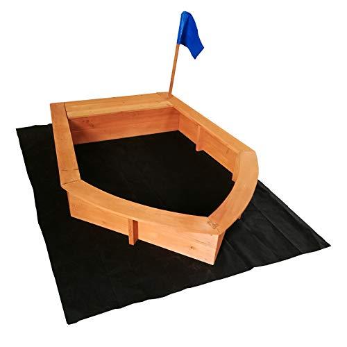 Arenero niños forma barco madera 150x108x50cm Zona juegos infantil Jardín Jugar Aire...