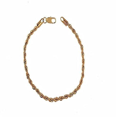 YAZILIND 18K simple double chaîne d'or de type spirale Femmes Filles plaqué zircone cubique Bracelet Cuff Bangle