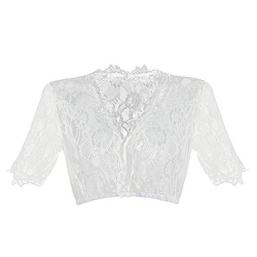 HBBMagic Dirndlbluse Damen Weiß Dirndl Bluse Spitze Trachtenbluse für Oktoberfest Größe 32-42, Weiß, 32 (Spitze V-ausschnitt Bluse)