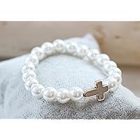 Armband mit Kreuz in silber farben Kommunion Konfirmation Firmung Perlenarmband Perlen Kommunionsarmband Kind Mädchen Junge verschiedene Farben