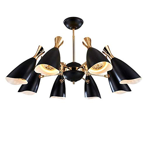 ZYY LED Deckenleuchte 48W schwenkbar Kronleuchter schwarz modern Deckenlampe Wohnzimmer Lampe esstisch lampe Schlafzimmerlampe Loft stil Deckenbeleuchtung Pendelleuchte (Leuchtmittel inklusiv) (8-flam