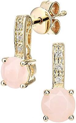 Revoni–9ct oro Amarillo Diamante y Rosa ópalo corte redondo pendientes de gota