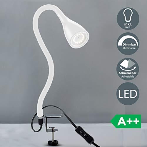 LED Klemmleuchte inkl 1x GU10 5W 400lm dimmbare Bettleuchte mit 3 Helligkeitstufen 360° Flexibel Schwanenhals Leselampe für Schlafzimmer Büro Metall Kunststoff