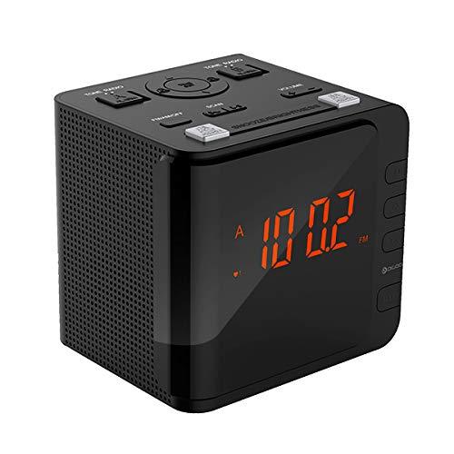 DIGOO DG-CR7 LED Großanzeige USB Wecker Radio Digital AM/FM Radio Dual Alarm mit Snooze (Clock Dual Usb Radio Alarm)