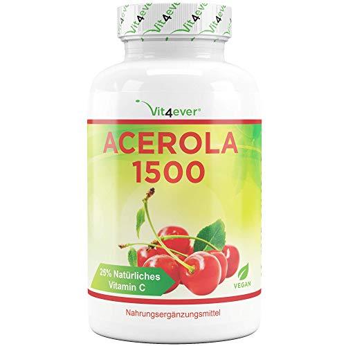 Vit4ever® Acerola Kirsche - 400 Kapseln - Natürlicher Vitamin C Vorrat für 200 Tage - 750 mg Acerola Fruchtpulver Extrakt je Kapsel mit 25% Vitamin C Anteil - Laborgeprüft - Hochdosiert - Vitamin C Und 500 Mg Kautabletten