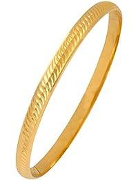 The Jewelbox 22k Gold Plated Wavy Punjabi Sardarji Sikkh Kada Bangle Bracelet