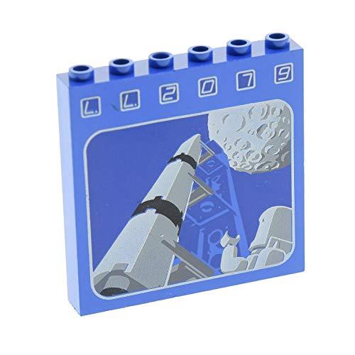 LEGO 1 x System Wand Panele blau 1 x 6 x 5 Mauerteil Mauer Stein Bedruckt LL2079 Rakete Mond Set Classic Space 6970 3754pb01 (Lego System Classic-sets)