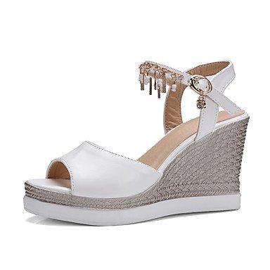 Enochx Donna Sandali Estate Autunno scarpe Club PU Ufficio Matrimoni & Carriera vestito Tacco a cuneo di strass catena della fibbia White