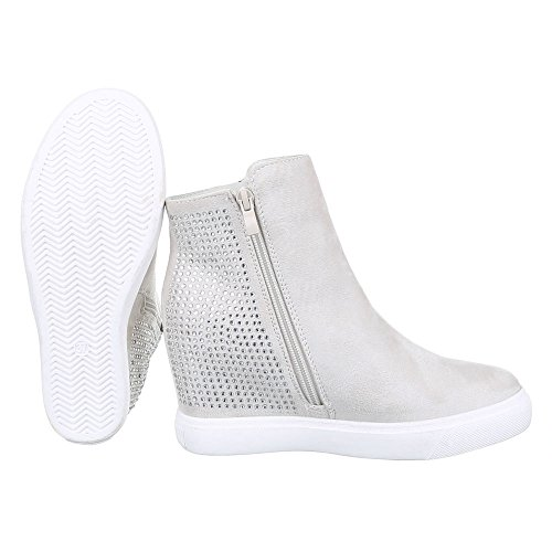 Damen Schuhe, S4833, STIEFELETTEN STRESS BESETZTE KEIL BOOTS Creme