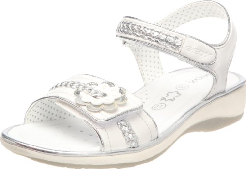 Geox J22D6N054ACC1000, Mädchen Outdoor-Sandalen, Weiß (White), 31 EU / 12,5 UK