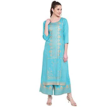 PINKY PARI RAYON FOIL PRINTED STRAIGHT FIT KURTA AND FLARED PRINTED PALAZZO SET (S, GREEN) (S, TURQUOISE)