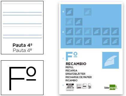 RECAMBIO LIDERPAPEL FOLIO 100 HOJAS 60G/M2PAUTA 4ª