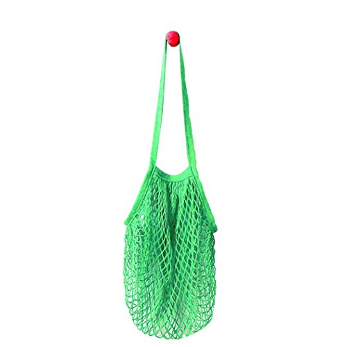 C'est Net Shopping Tote Ecology Market String Bag Reusable Fruit Storage Handbag (Long strap, green)