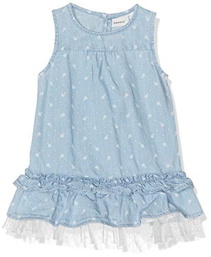 NAME IT Baby-Mädchen NBFABIANA DNM 1207 DRESS AOP Kleid, Blau (Light Blue Denim), (Herstellergröße: 68)