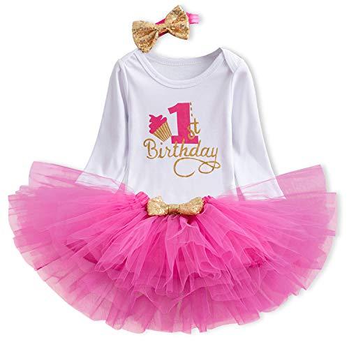 NNJXD Mädchen Newborn 1. Geburtstag 3 Stück Outfits Strampler + Tutu Kleid + Stirnband (1 Jahre, Rosa(Lange Ärmel))
