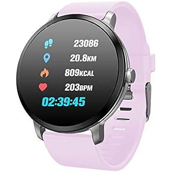 TDOR Smartwatch Hombre Mujer Barras Dinámicas 7 Deportes Llamadas Whatsapp Música, Color Rosa