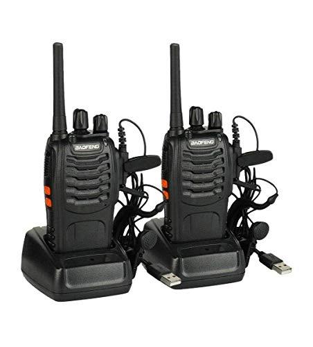 BaoFeng BF-88E PMR 446 Freie Lizenz Walkie Talkie 16 Kanäle Handfunkgerät mit USB Anschluß und Hörmuschel (Verbesserte 888S PMR Version)