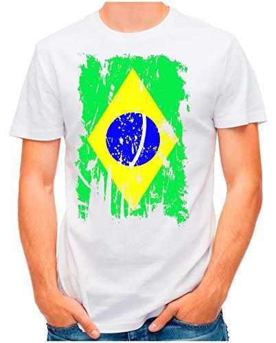 OM3® - Brazil-Vintage - T-Shirt | Herren | Brasilien Brasil Flag Fußball Trikot Verwaschen | Weiß, XL - Brasil Flag T-shirt