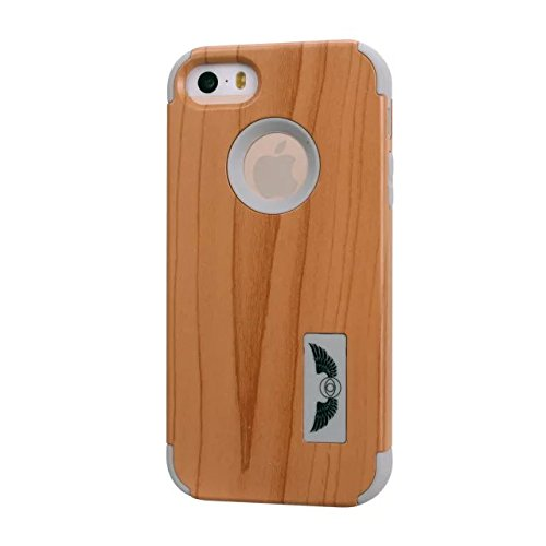 iPhone 5S Fall, iPhone 5 Fall, Lantier 3 in 1 PC + Silikon-Hybrid High Impact Defender Case Combo Fest Taschen Cover Kratzstaubdichte Shockproof für Apple-iPhone 5S 5 Holz Design Pink Wood Design Grey