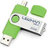 LEIZHAN USB-Stick 2.0 32G OTG (On the Go) Dual Port (USB 2.0 und Micro USB) Swivel USB Memory Stick Flash-Laufwerk externe Pendrive für Android Smartphone Tablet & PC Grün