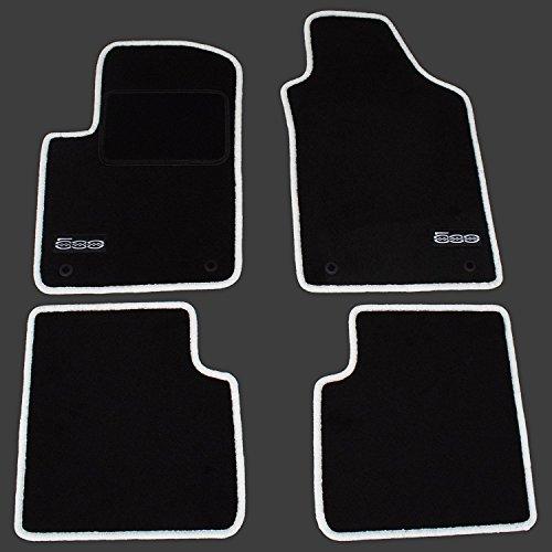 AME Auto-Fußmatten Velours mit weißer Kettelung, Series Logo und eingearbeiteter Trittschutz - Fiat Autoteppich, 500 Fußmatte