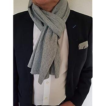 Exklusiver Herren Schal mit passendem Einstecktuch in Grau, Thermo-Baumwolle