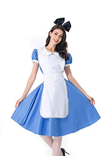 Mädchen Kellner Kostüm - Halloween Erwachsene Magd Kostüm Mädchen Kostüm Cosplay Bühne Performance Kostüm Cafe Kellner Uniform, Blau,XL