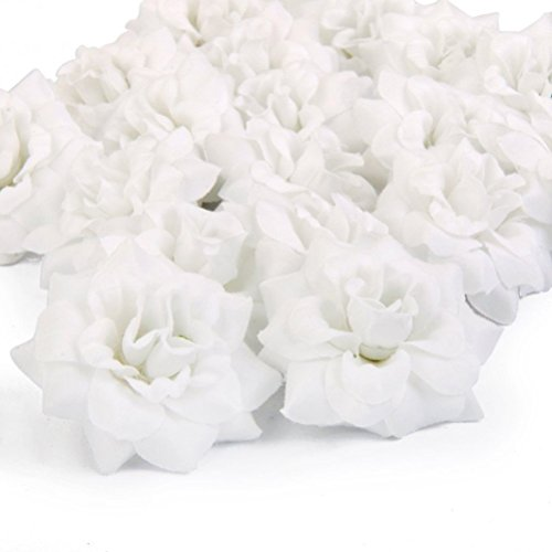 Luoem 50pcs artificial white flowers heads silk rose heads craft zoom images mightylinksfo