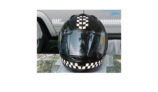 Reflective Motorcycle Helmet Decal Kit Checkers Black And - Motorcycle helmet decals graphicsappliedgraphics high visibility reflective motorcycle decals
