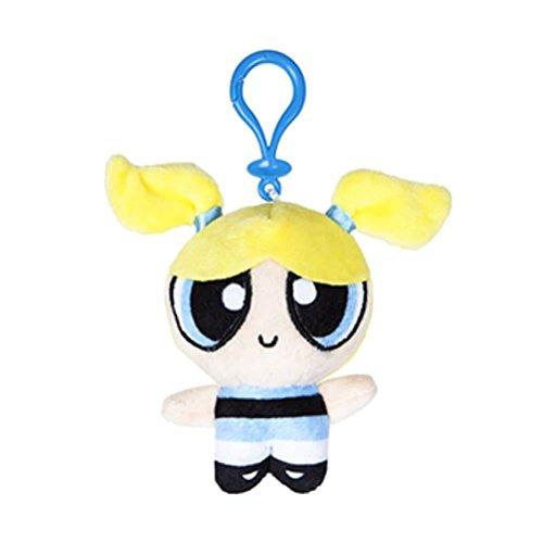 Offizielle Powerpuff Girls Cute Plüsch Stofftier 10cm Tasche Clips Schlüsselanhänger Keychain - Bubbles