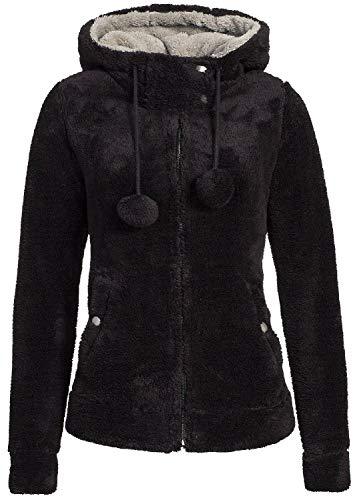 Urban Surface Damen Fleecejacke mit Öhrchen und Kapuze Black S