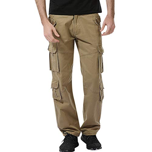 Mode Herren Hose Pure Outdoor Arbeitshose Sport Tasche Pants Lose Fit Cargo Bermuda Stoffhose PPangUDing Camouflage Hosen Fitness Schnell Trocknende Laufshorts Jeans (30, Khaki)
