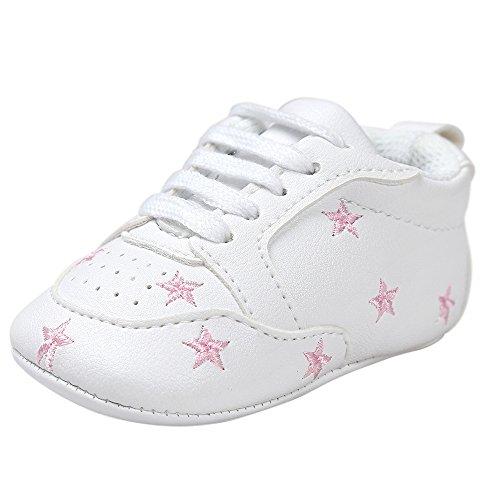 Fossen Recién nacido Bebe Zapatos Cuero artificial Zapatillas con Bordado Pentagram Suela Blanda Antideslizante...