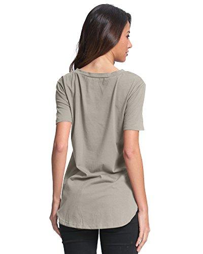 StyleDome Damen V Ausschnitt Kurzarm Lockere Einfarbig Tops T-Shirts Grau