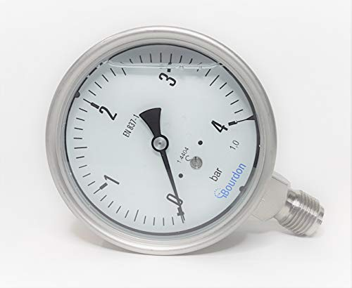 Sensotec Manometer aus Edelstahl, Reichweite 0 bis 4 bar, mit Glycerin gefüllt, 100 mm, Modell MEX5-D31.B19 -