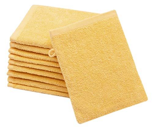 ZOLLNER 10er Set Waschlappen Baumwolle, 16x21 cm, gelb (weitere verfügbar)