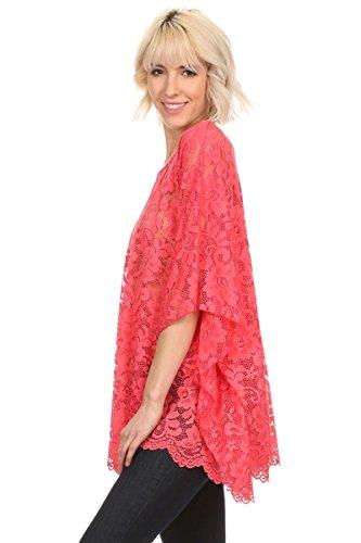 Kimono Bluse Abend-Bluse Tunika Shirt Überwurf Stola Spitze Koralle