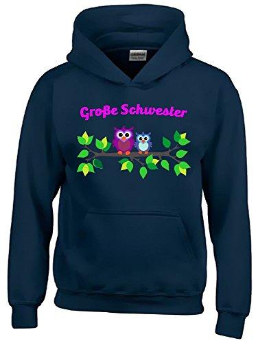 Reiter-kinder Hoodie (Grosse Schwester ! Mädchen Geschwister Sweatshirt mit Kapuze HOODIE NAVY, Gr.128cm)