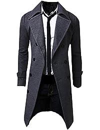 MISSMAO Uomo Cappotto Inverno Slim Elegante Trench Coat Doppio Petto Giacca  Lunga Parka ca765871cfb